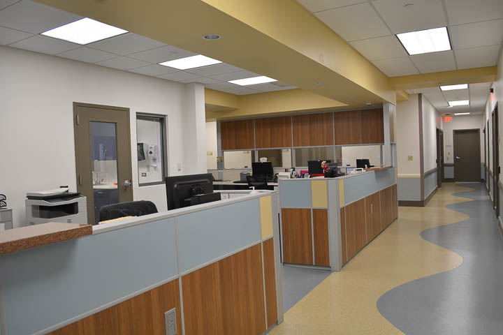 Adult Medicine staff work area and hallway.